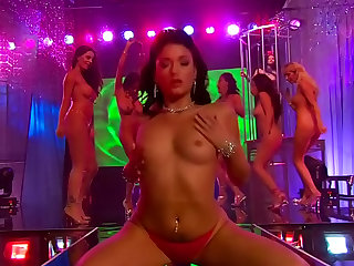 Splendid pornstars perform striptease in a party