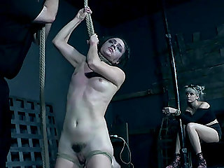 Alex More pussy tortured with a rope around her neck until she came