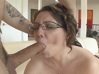 Thick mom has fun fucking his big cock like a slut