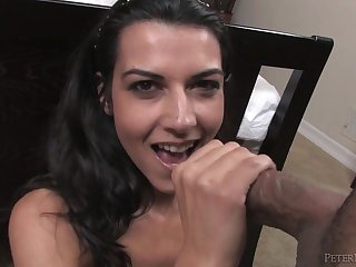 Pierced tongue blowjob from a small tits chick