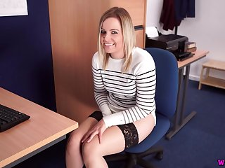 Office girl gets caught masturbating at her desk