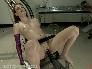 Redhead get Her tight Pussy Fucked By A Machine